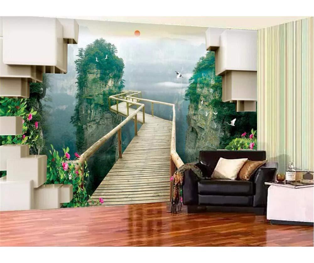 Weaeo カスタム写真の壁画の3D壁紙深い山の木製の橋のパスリビングルーム3D壁の壁画壁3D-400X280Cm B07H8JN979