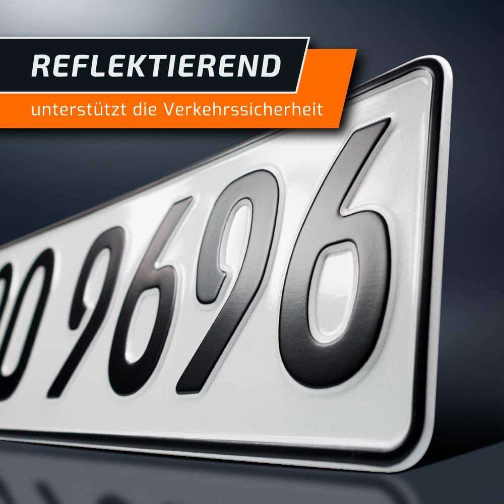 PKW Nummernschilder EU Wunschkennzeichen mit individueller Pr/ägung DIN-Zertifiziert Auto-Schilder 420 x 110 mm DHL-Versand schildEVO 2 Kfz Kennzeichen Kurze Autokennzeichen