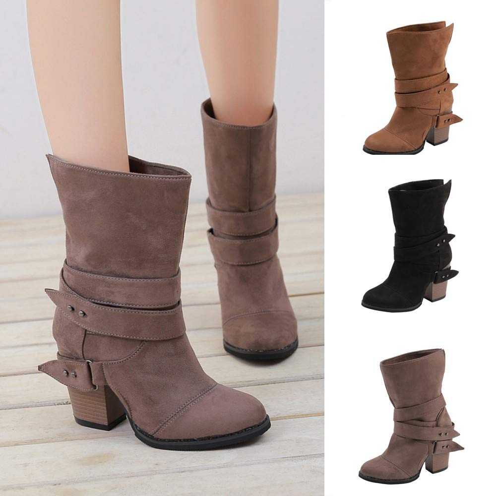 Amazon.com : Youngh Womens Boot Over The Knee Boot High Heel Slip-On Mid-Cal Bootie Fashion Casual Boot Shoes : Grocery & Gourmet Food