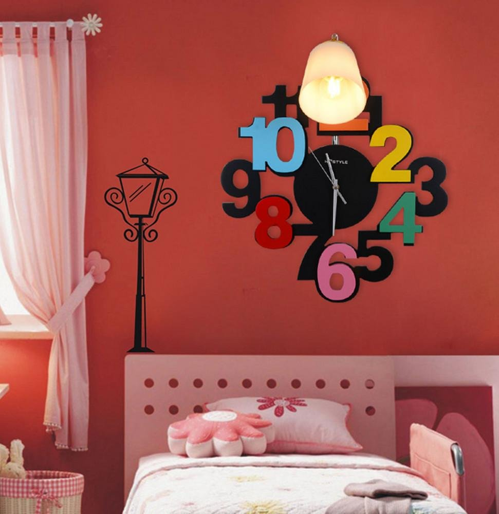 Cartoon Clock Wall Lamp Children Lighting Bedroom Boys And Girls Room Bedside Lamp Led Lighting