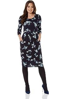 5b9dc86b3eb1 Roman Originals Women Floral Print Tunic Dress - Ladies Daywear Office Work  Comfortable…