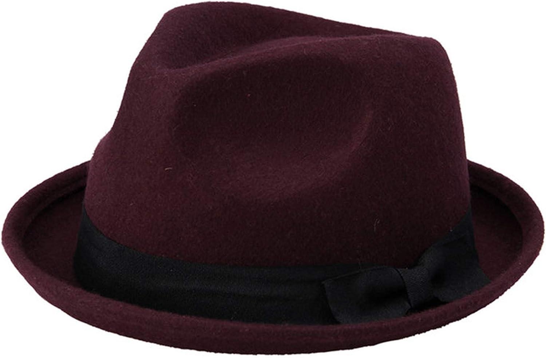 Winter Autumn Women Wool Black Fedora hat for Laday Felt Trilby Hat Gangster Panama Sun Hat