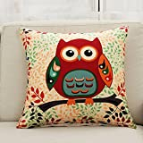 Calcifer-18-x18-Inch-45x45cm-Durable-Cotton-Linen-Throw-Pillows-Sheel-Case-Cushion-Covers-For-Home-Sofa-Decorative-Set-of-4-Trees-Owls-Series