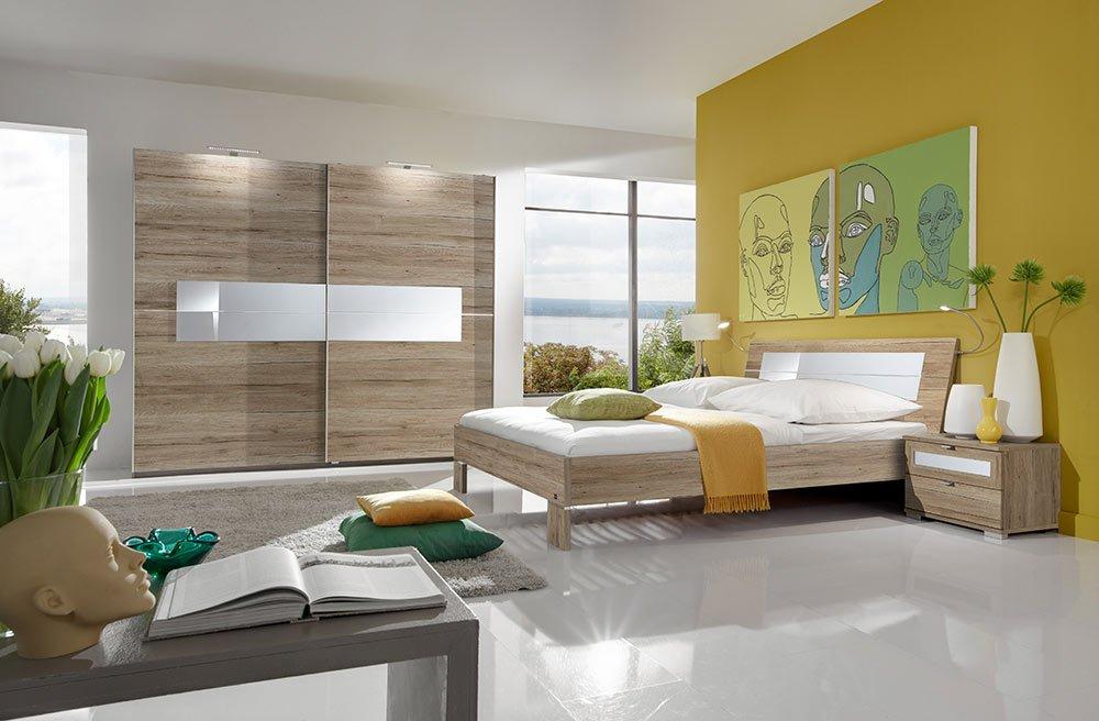 3-tlg. Schlafzimmer in San Remo-Eiche-Nachb. mit Glas weiß, Kleiderschrank Breite: 250 cm, Futonbett 180x200 cm, 2 Nachtschränke Breite je: 52 cm