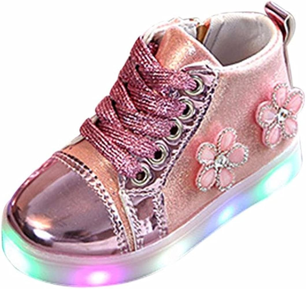 Bebé Flor bordado Zip Cristal zapatillas con LED luces, Yannerr ...