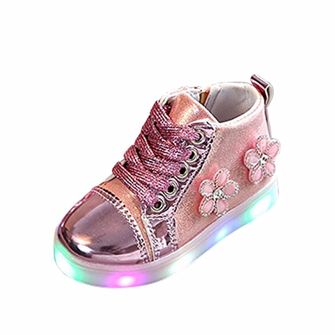 Bebé Flor bordado Zip Cristal zapatillas con LED luces ,Yannerr recien nacido niño niña luminoso