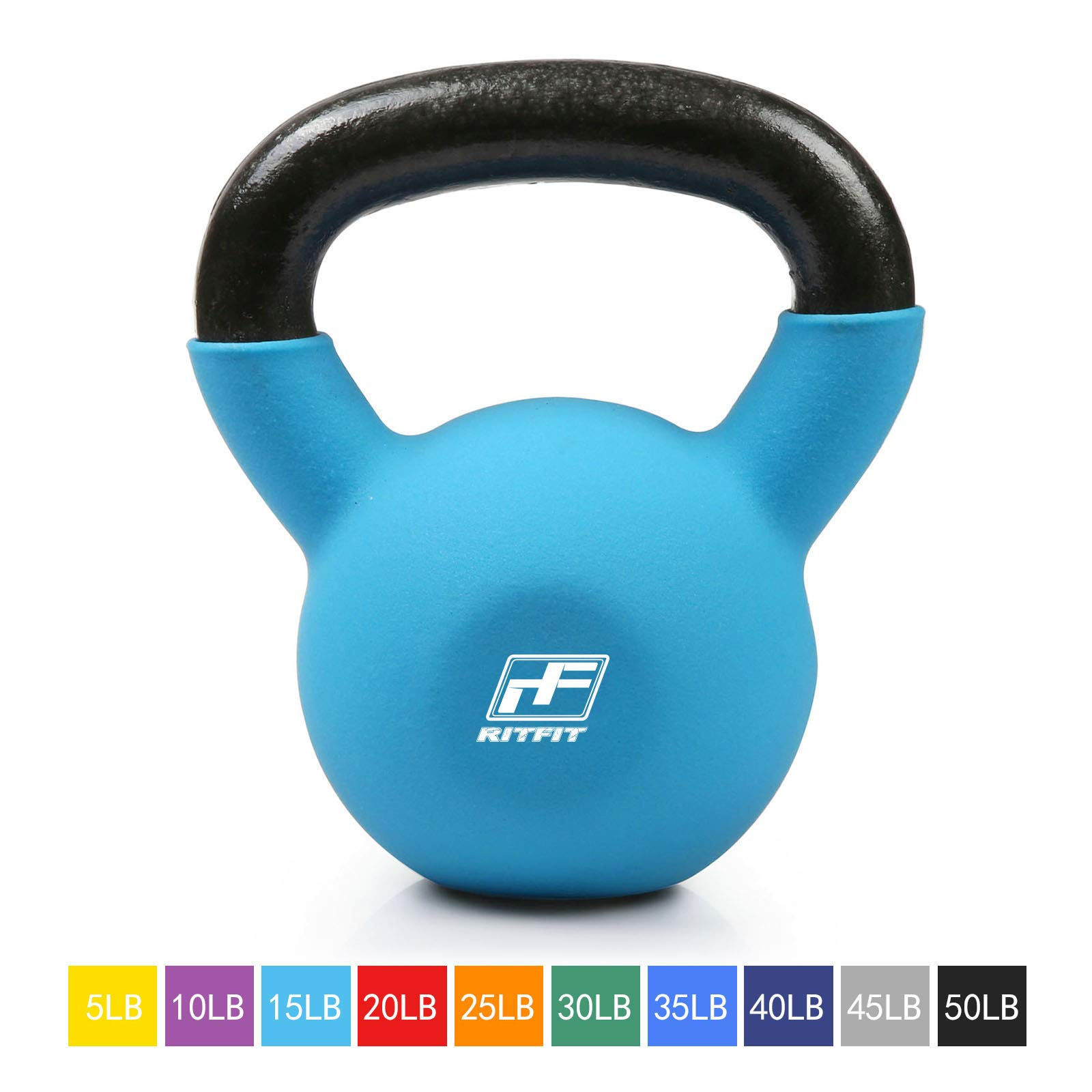 RitFit Neoprene Coated Solid Cast Iron Kettlebell - Great for Full Body Workout, Cross-Training, Weight Loss & Strength Training (5/10/15/20/25/30/35/40/45/50 LB) (15LB(Sky Blue))