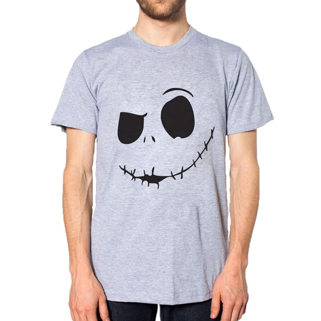 nanzhushangmao Men's Evil Smiling Face Summer Tee Adult Graphic T-Shirt Apparel Round-Collar Cotton Shirt Gray
