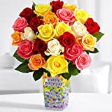 ProFlowers - Two Dozen Vibrant Birthday Roses (with FREE glass vase) - Flowers