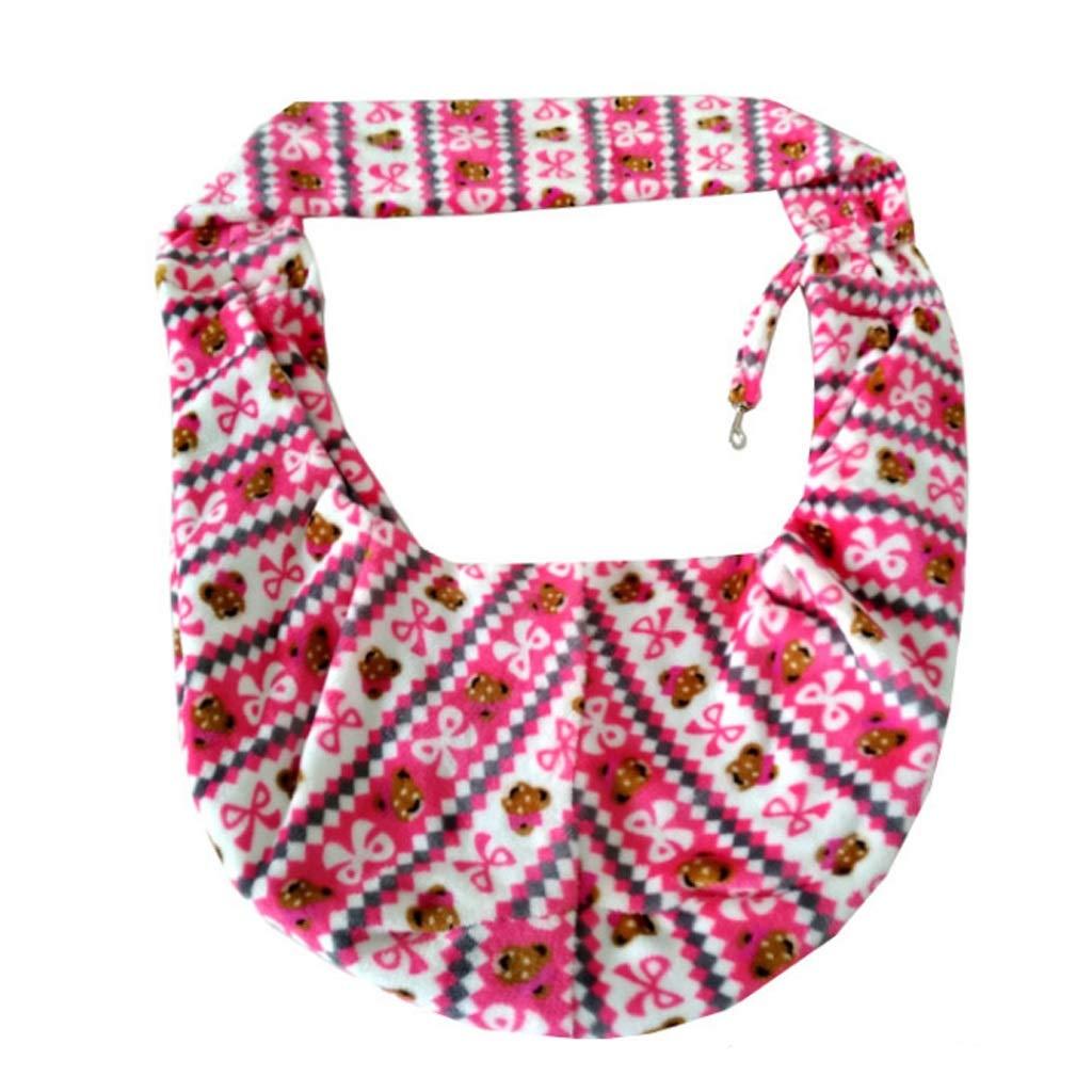 M GWM Pet Backpacks Women's Pet Bag Crossbody Bag Flannel Cartoon Hug Pack for Winter (Pink) 7.5kg (Size   M)