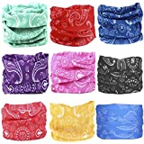KALILY 9PCS Headband Bandana - Versatile PAISLEY Sports & Casual Headwear –Multifunctional Seamless Neck Gaiter, Headwrap, Balaclava, Helmet Liner, Face Mask for Camping, Running, Cycling, Fishing etc