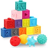 GILOBABY 16 PCS Baby Soft Blocks Sensory Balls Set, Stacking Building Blocks Squeeze Toys, Baby Teething Bath Toys with Numbe