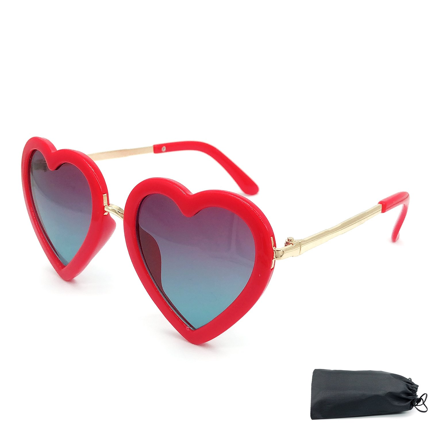 Elesa Miracle Girl Kids Toddler Heart Shaped Polarized Sunglasses (Red)