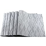 Uniturcky Rectangle PVC Placemats for Table Heat Insulation Stain-resistant Woven Vinyl Kitchen Placemat Set of 6 (6,Silver)