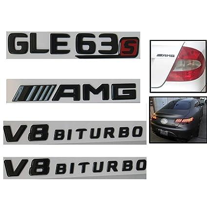 ABS V8 BITURBO Car Auto Side Emblem Badge Sticker Decal for Mercedes Benz Black