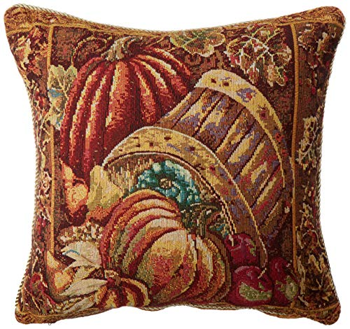 - HomeCrate Fall Harvest Collection, Tapestry Bushel Basket Pumpkins Apples and Grapes Design 18