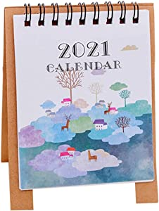 FRIUSATE Mini Hand Drawing Cartoon Desk Calendar August 2020 - Dec. 2021 (12.5x9.5cm), Standing Flip Desktop Calendar(Clouds)