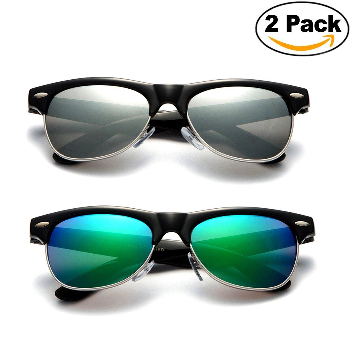''Hayden'' - Kids Mirror Flash Lens Fashion Sunglasses Classic Fashion Look Clubmaster Vintage Kids Sunglasses Girls Boys UV Protection Lead Free