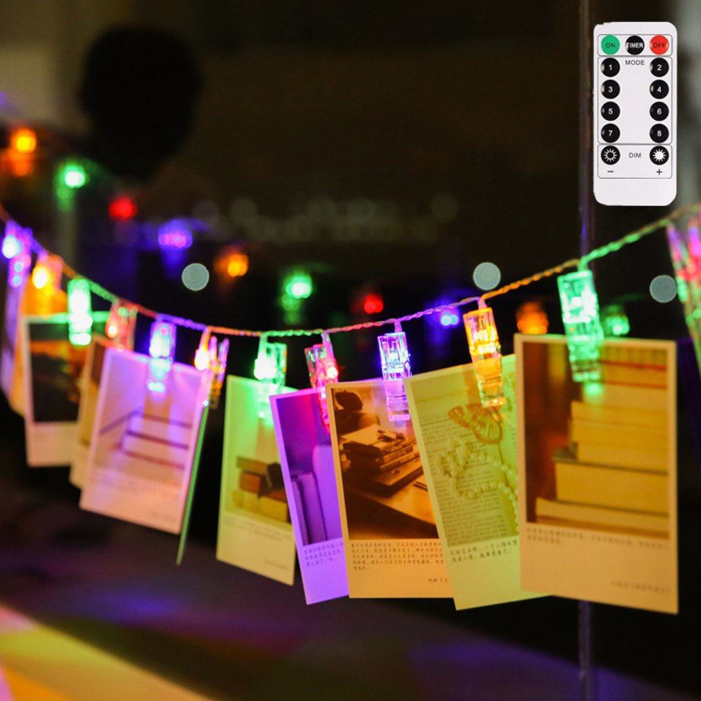 LIGHTESS Photo Clips String Lights Holder Remote Control Battery Powered 40 LED 13ft Christmas Lights Decorations for Xmas Holiday Hanging Picture Cards Wedding Party Decor Multi Color