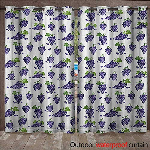 - WilliamsDecor Vineyard Outdoor Balcony Privacy Curtain Cute Fruit Icons Patterned Juicy Organic Yummy Sweet Food Cottage Life Design W84 x L108(214cm x 274cm)