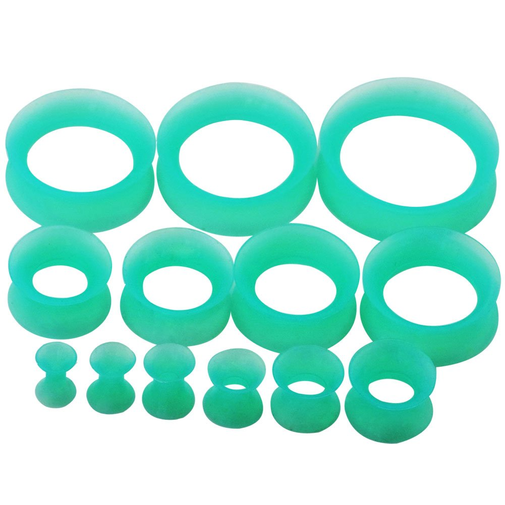 D&M Jewelry 26pcs Thin Silicone Hollow Flexible Ear Tunnels Kit Stretching Set 8G-1 Qianmin Co.Ltd XS090-A