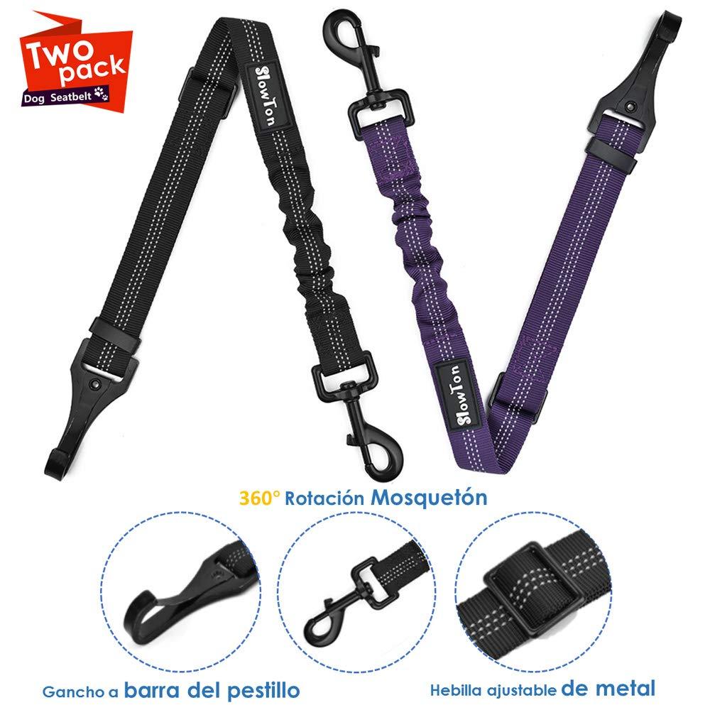 SlowTon Cintur/ón de Seguridad de Coche 2 Pack Accesorio de la Barra de Cierre Hebilla de Metal Cintur/ón de Seguridad de Coche Arn/és del Cintur/ón Ajustable para Perros