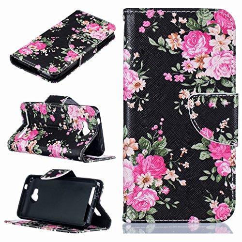 Yiizy Huawei Y3 II Huawei Y3 2 Custodia Cover, Rose Design Sottile Flip Portafoglio PU Pelle Cuoio Copertura Shell Case Slot Schede Cavalletto Stile Libro Bumper Protettivo Borsa