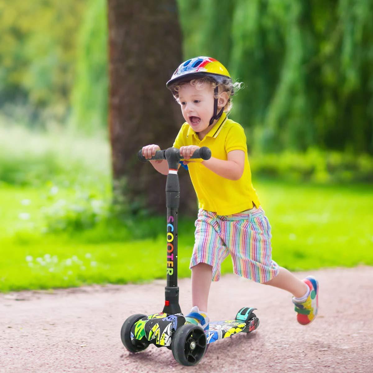 Kinderroller Dreirad mit Verstellbarem LED Rollen Graffiti Scooter Roller Klappbarer City-Roller Sport Kinder Scooter H/öhenverstellbar Kinder ab 5-14 Jahren Kinder Scooter