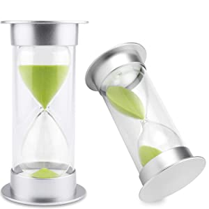 Hourglass Sand Timer 5/10/15/30/45/60 minutes Sand glass Timer for Romantic Mantel Office Desk Book Shelf Curio Cabinet Christmas Birthday Gift Kids Games Classroom Kitchen Home Dec (60 min, green)