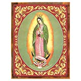 Wood-Framed Virgen de Guadalupe Metal Sign: Hispanic and Religious Décor Wall Accent on reclaimed, rustic wood