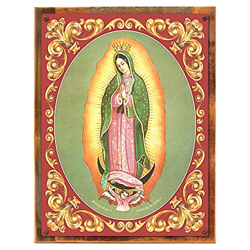 Wood-Framed Virgen de Guadalupe Metal Sign: Hispanic and Religious Décor Wall Accent on reclaimed, rustic wood by OMSC