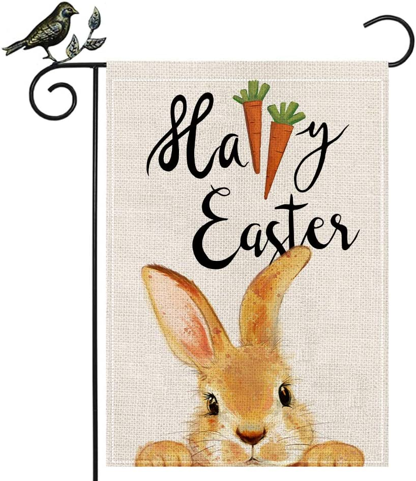 AENEY Easter Garden Flag 12.5 x 18 Inch Vertical Double Sided Decorative Happy Easter Bunny Carrot Holiday Easter Decor for Outside Yard Outdoor Farmhouse Easter Decorations B76-12