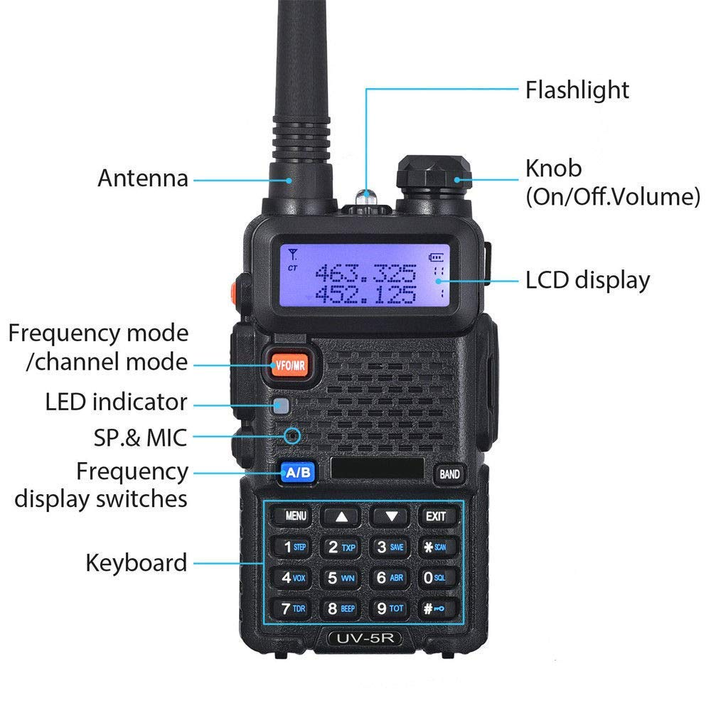 LDJC Walkie-Talkie, Portable Walkie-Talkie 8W High Power Voltage 7.2V DC 1800MAH Lithium Battery Frequency Stability 2.5PPM