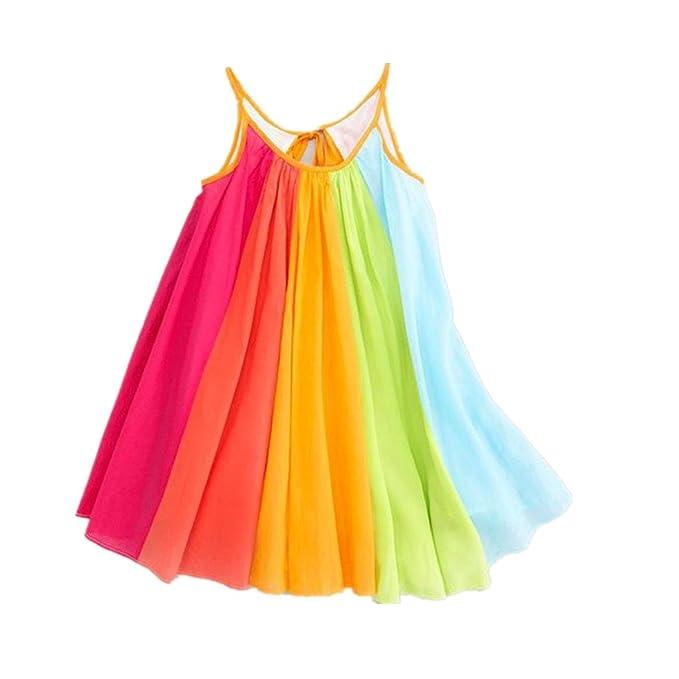 a3c14710fda3a BYSTE Abito Bambina Ragazze Abiti Chiffon Arcobaleno Vestito da Imbracatura  Estate Gonna di Garza Tutu Vestito