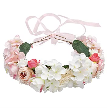 Image Unavailable. Image not available for. Color  Flower Headband Pink ... 857d4a2da7c