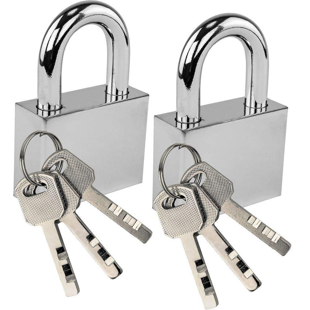 Lock'em Steel Padlock – Classic Shiny Silver Finish Lock – Case Hardened Shackle – Secure with Confidence - Keyed Same Set of 2