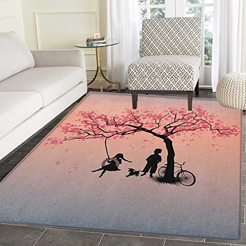 Cherry Outdoor Swing - Tree of Life Print Area rug Children Playing on a Tire Swing under Cherry Tree with Dog Blossom Spring Art Indoor/Outdoor Area Rug 3'x4' Pink Black
