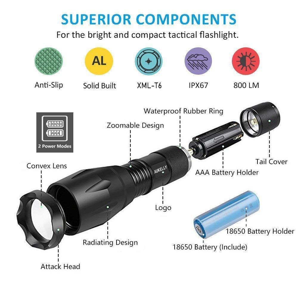 Best007 Linternas LED Recargable USB Linterna Tactica Alta Potencia Militar Linterna,5 Modos,Alta Potencia Linternas para Camping,Impermeable Linterna para Ciclismo,Con 18650 Bater/ía