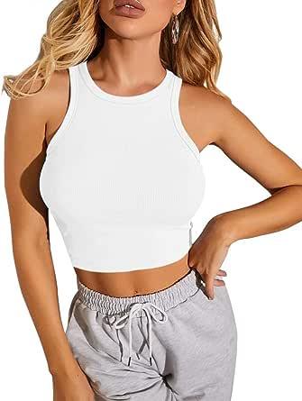 CLOZOZ Women Round Neck Sleeveless Knit Ribbed Basic Crop Tank Top Shirts