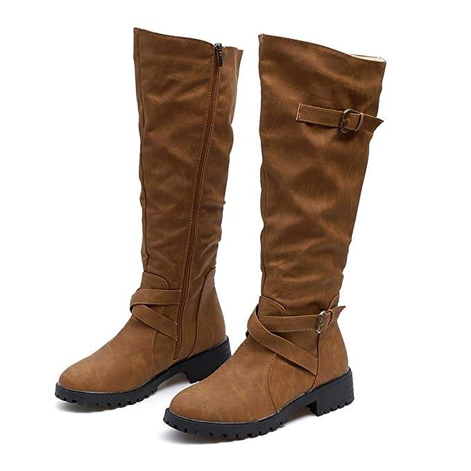 Botas Mujer Altas Con Plataforma Zapatos De Cuero Artificial Impermeable Botines Planos De Color Sólido Militares Botas Mujer Invierno: Amazon.es: Ropa y ...