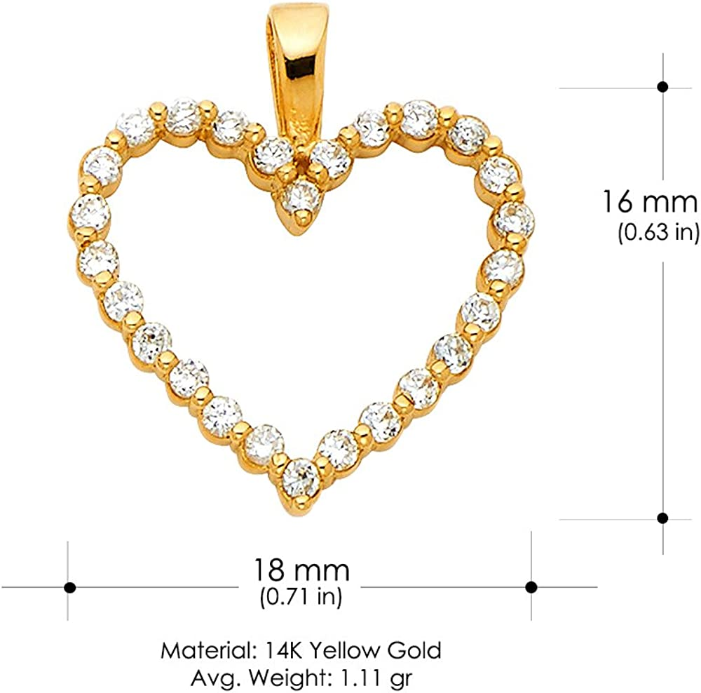 14K Yellow Gold Open Fancy Heart Round Cut Cubic Zirconia CZ Charm Pendant with 2mm Figaro 3+1 Chain Necklace