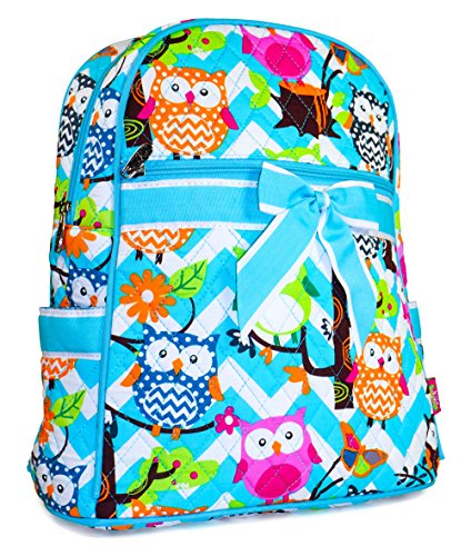 N GIL Quilted Teal Chevron Owls Backpack