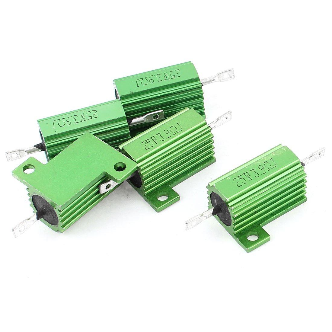 uxcell 5 Pcs Green Heatsink Aluminum Housed 25Watt 3.9Ohm Wirewound Resistors