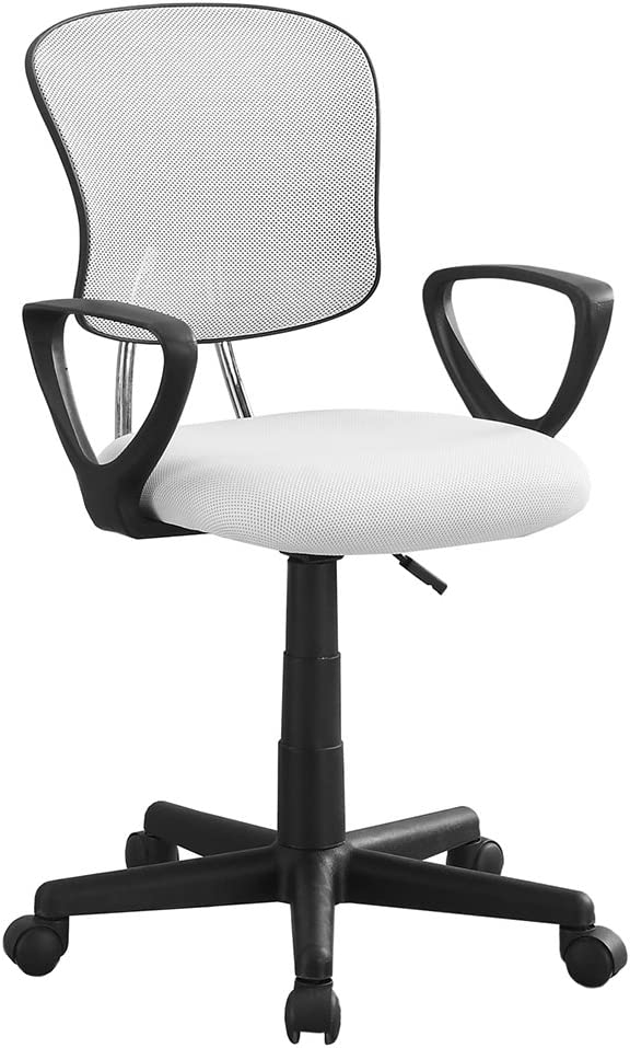 Monarch Specialties Mesh Juvenile/Multi-Position Office Chair, White