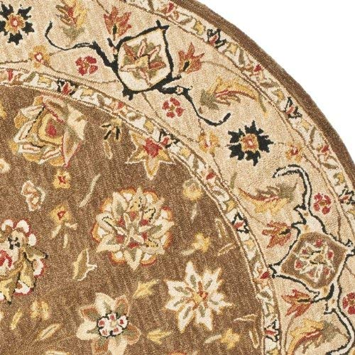 Safavieh Chelsea Collection HK505B Hand-Hooked Brown and Ivory Premium Wool Round Area Rug 8 Diameter