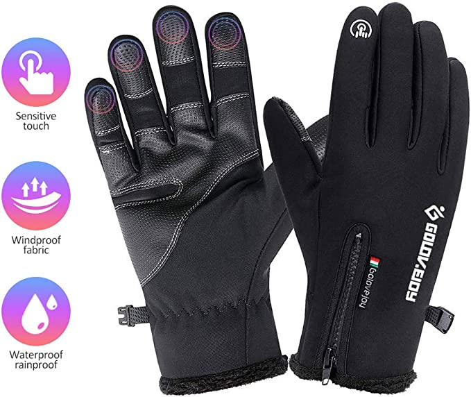 Golovejoy Fahrrad Handschuhe Winter Thermo Warm Voll Finger Touch Screen