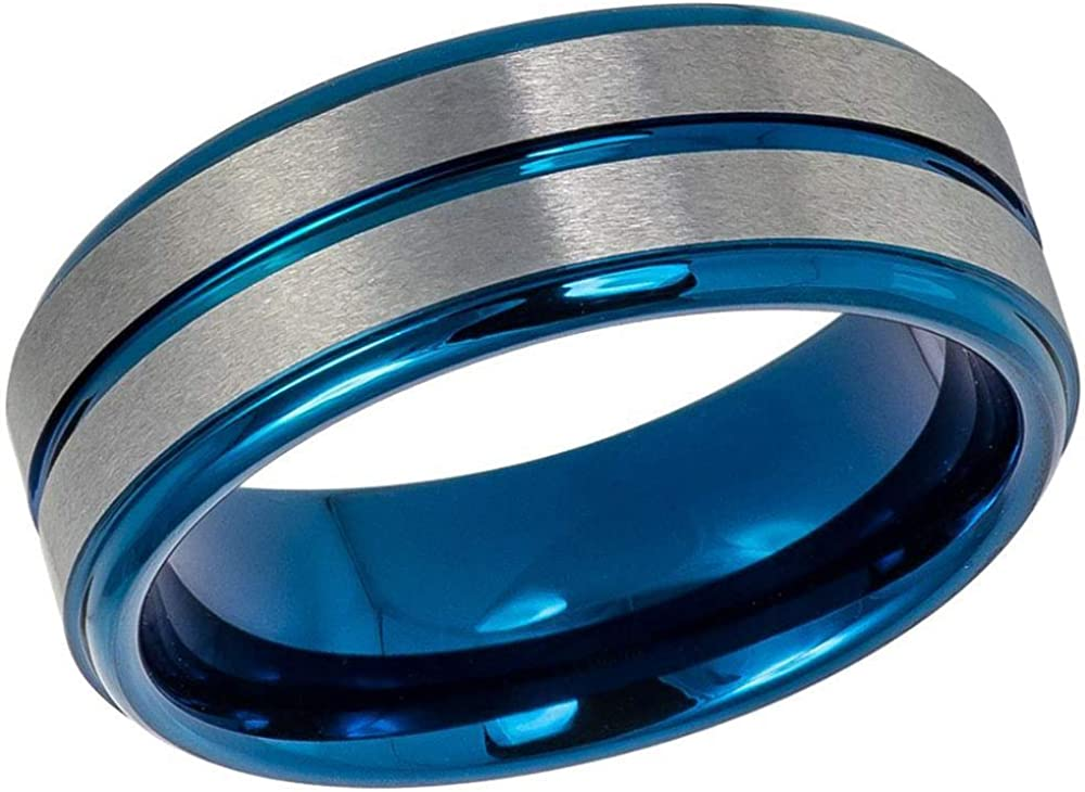 Blue IP Stepped Edge Comfort Fit Tungsten Carbide Anniversary Ring TosowebOnline Mens 8mm Brushed Finish Grooved Center