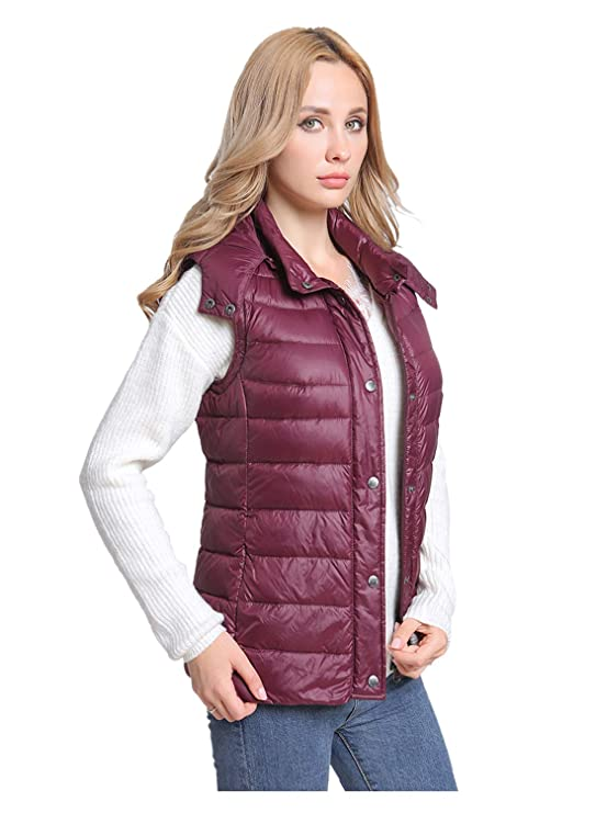 4b379d7a15b7 MSVASSA 2 in 1 Ladies Quilted Puffer Between-Seasons Packable Hooded  Lightweight Down Jacket Berry Size 8-20  Amazon.co.uk  Clothing