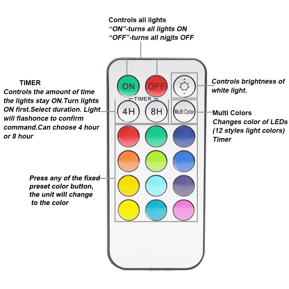 GreeSuit Control remoto inal/ámbrico Brillo Luz para gabinete Puck LED ajustable Luces LED para debajo del gabinete Luces de acento de LED de varios colores Funciona con bater/ía 6 PCS