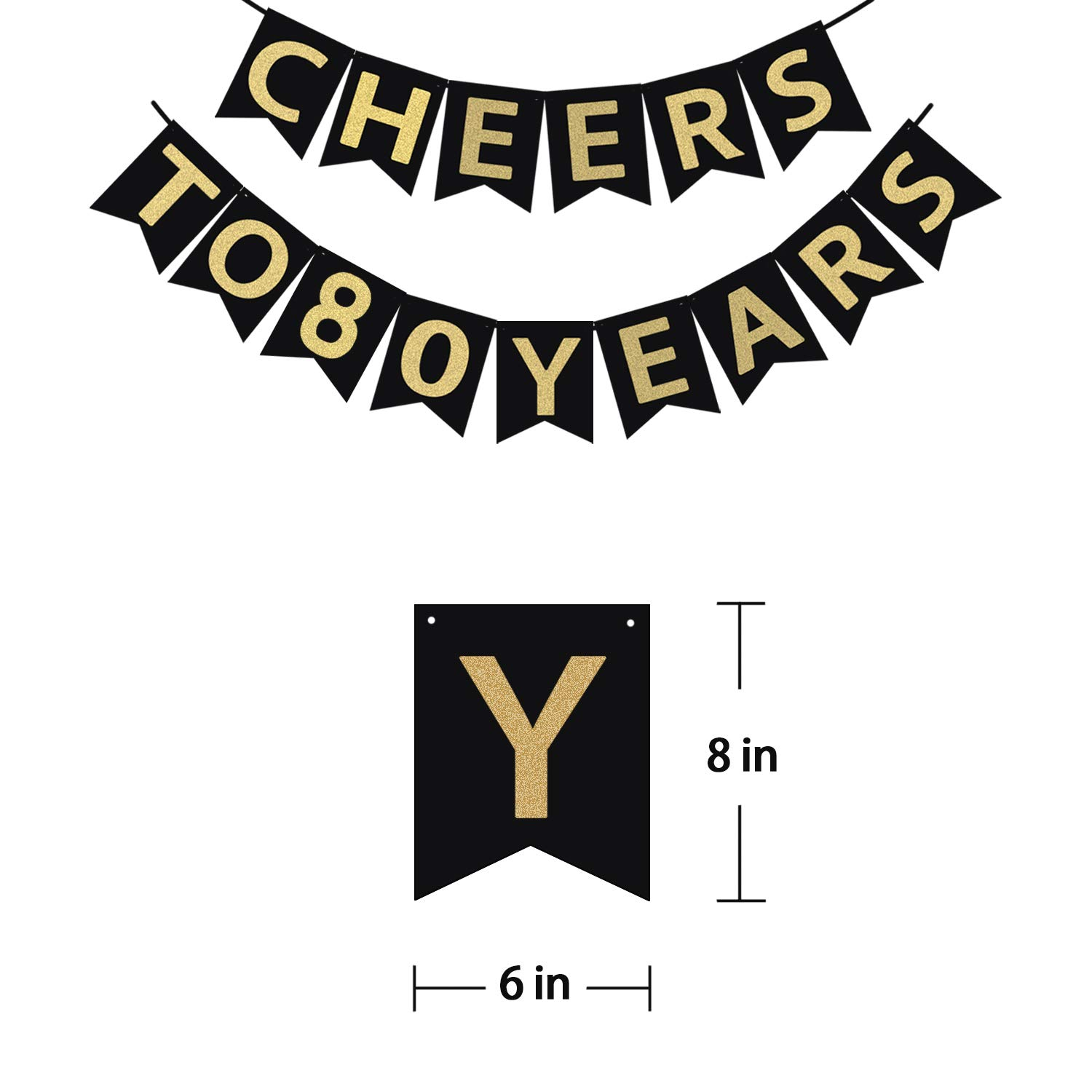 Tuoyi 80th Birthday Party Decorations KIT - Cheers to 80 Years Banner, Sparkling Celebration 80 Hanging Swirls, Perfect 80 Years Old Party Supplies 80th Anniversary Decorations by Tuoyi (Image #2)